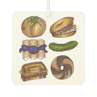 Jewish Deli Food Bagel Knish Pickle Reuben Blintz Car Air Freshener