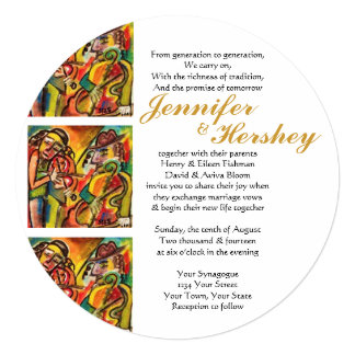 """Jewish Music with a Klezmer Band (rounded) 5.25"""" Square Invitation Card"""