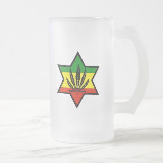 jewish rasta frosted glass beer mug