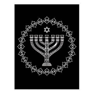 Jewish Religious Background With Menorah Postcard