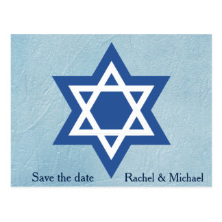Jewish Save the date Star of David Postcard