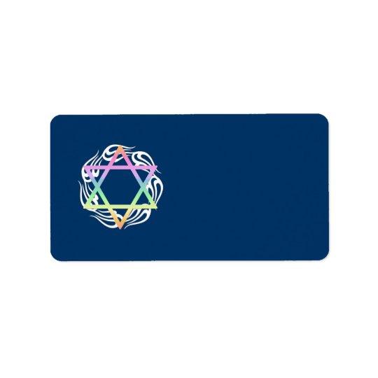 Jewish Star Colours Address Label