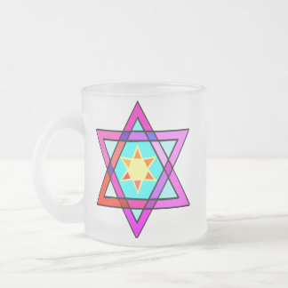 Jewish Star of Life Frosted Glass Coffee Mug