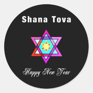 Jewish Star Shana Tova Round Stickers