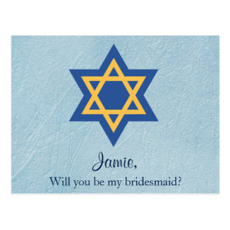 Jewish Will You be My Bridesmaid Star of David Postcard