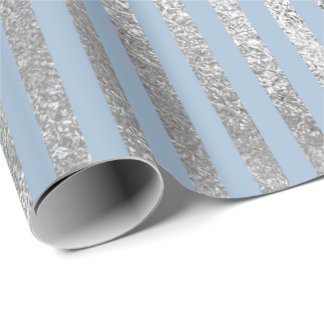 Jewlery Stripes Pastel Blue Silver Lines Vip Wrapping Paper