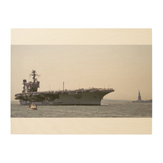 JFK AirCraft Carrier Entering New York Harbor Wood Wall Art