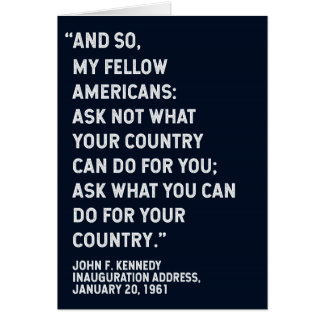 JFK 'Ask Not' Quote Card