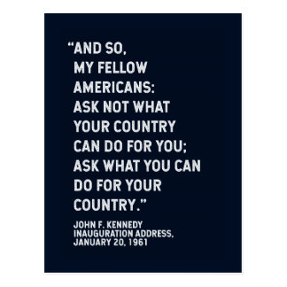 JFK 'Ask Not' Quote Postcard