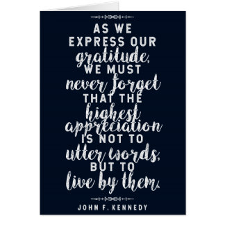 JFK 'Live by your words' Inspirational Quote Card