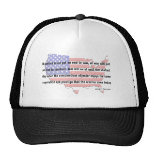 JFK Peace Quote Mesh Hats