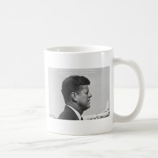 "JFK ""Peaceful Revolution"" Quote Gifts Cards & Tees Basic White Mug"