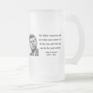 JFK Quote 3b Frosted Glass Mug