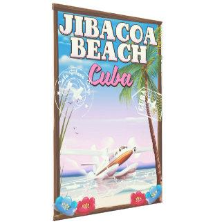 Jibacoa beach Cuba travel poster Canvas Print