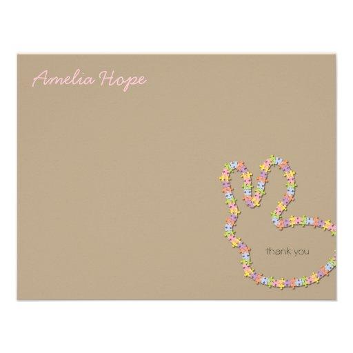 Jigsaw Bunny Pink Thank You Custom (R) Note Card Custom Invitations