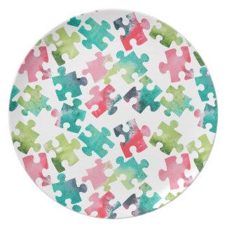 Jigsaw Puzzel Watercolour Pattern Dinner Plate