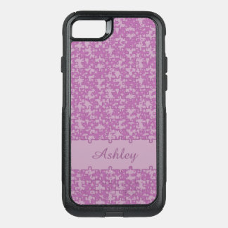Jigsaw puzzle pattern purple monogram or name OtterBox commuter iPhone 7 case