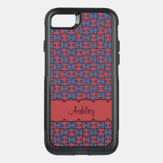 Jigsaw puzzle red blue pattern monogram or name OtterBox commuter iPhone 7 case
