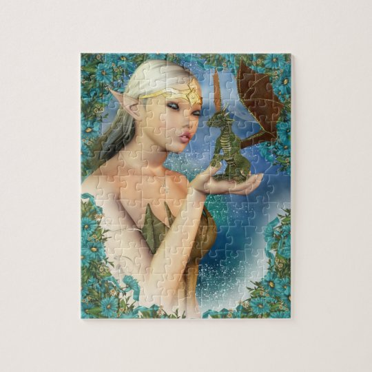 Jigsaw Puzzle With Fantasy Elf And Cute Dragon