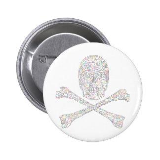 Jigsaw Skull & Crossbones - Color 6 Cm Round Badge