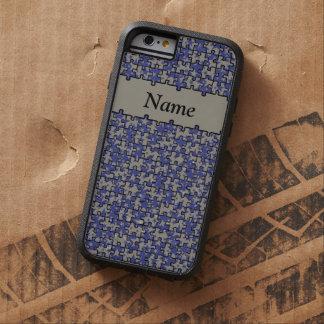 Jigsaw Stars royal blue aluminium personalised Tough iPhone 6 Case