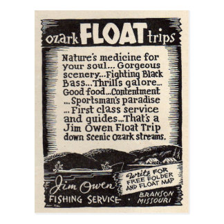 Jim Owen Float Trip Branson Missouri Postcard