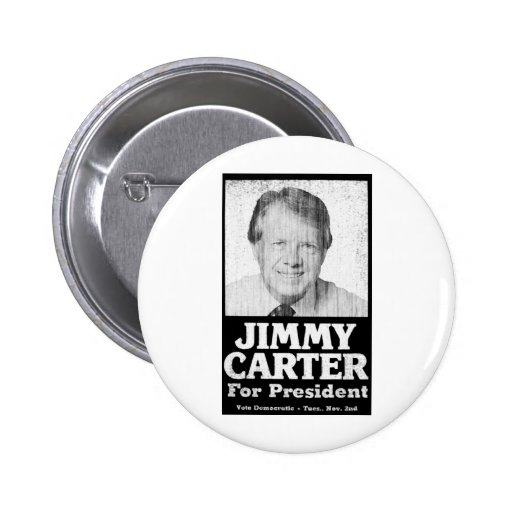 Jimmy Carter Distressed Black And White Pinback Buttons