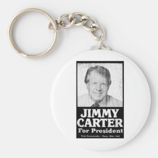 Jimmy Carter Distressed Black And White Basic Round Button Key Ring