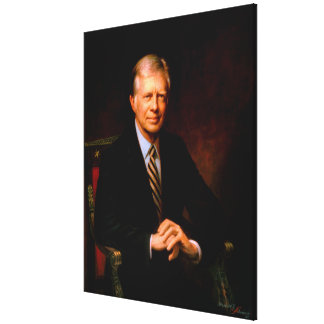 JIMMY CARTER Portrait by Herbert E. Abrams Stretched Canvas Print