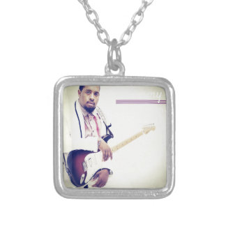 Jimmy Electric Guitar Tee Silver Plated Necklace