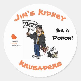 Jim's Kidney Krusaders Sticker. Round Sticker