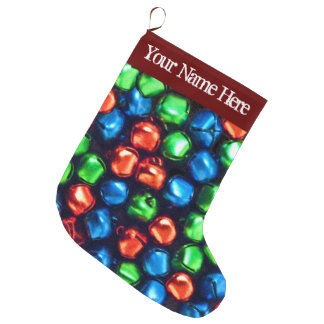 Jingle All the Way Red, Green & Blue Large Stockin Large Christmas Stocking