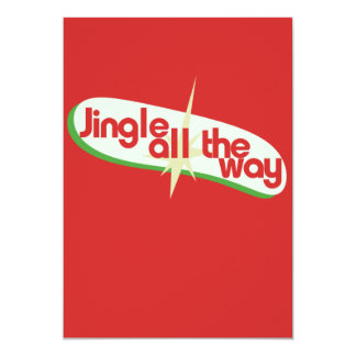 Jingle all the way retro xmas 13 cm x 18 cm invitation card