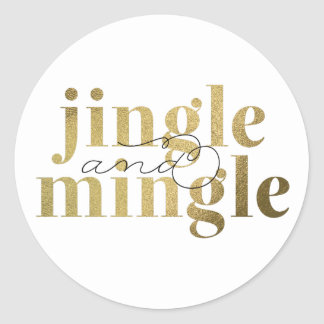 Jingle and Mingle Christmas Holiday Party Round Sticker