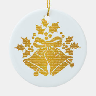Jingle Bells and Holly for Winter Christmas Prayer Ceramic Ornament
