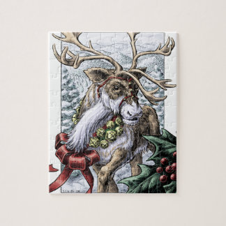 """Jingle Bells"" Christmas Holiday Reindeer Art Jigsaw Puzzle"