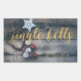 Jingle Bells Gold Rustic Christmas Personalized Rectangular Sticker