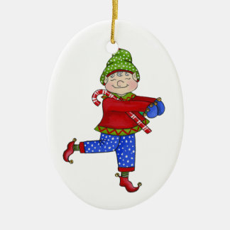 "Jingle Elves ""Fred"" Ceramic Ornament"