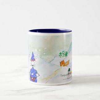 Jingles in winter under the storm Two-Tone mug