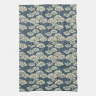 Jitaku Blue Lotus Leaves Pattern Kitchen Towel