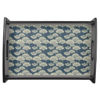 Jitaku Blue Lotus Leaves Pattern Serving Tray