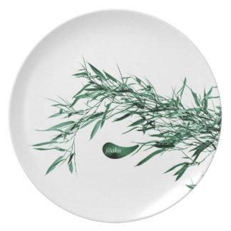 Jitaku Green Bamboo Leaves Melamine Plate