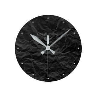 Jitaku Let's Do Nothing Black Wrinkled Clock