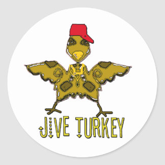 jive turkey round sticker