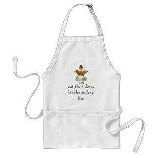 jive turkey says eat the inlaws adult apron