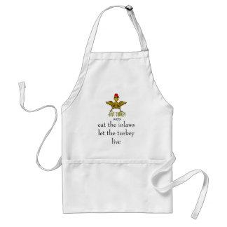 jive turkey says eat the inlaws standard apron