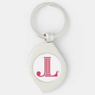 JL Keychain Silver-Colored Swirl Key Ring