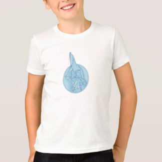 Joan of Arc Holding Flag Oval Drawing T-Shirt