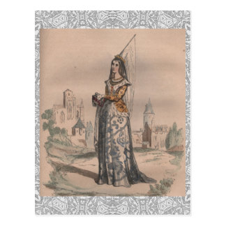 Joan of Arc Medieval French fashion costume lace Postcard