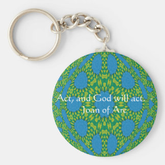 Joan of Arc Quote With Amazing Design Basic Round Button Key Ring